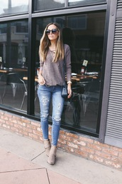 merrick's art // style + sewing for the everyday girl,blogger,sweater,jeans,bag,grey sweater,ripped jeans,skinny jeans,blue jeans,lace up jumper,black bag,boots,grey boots