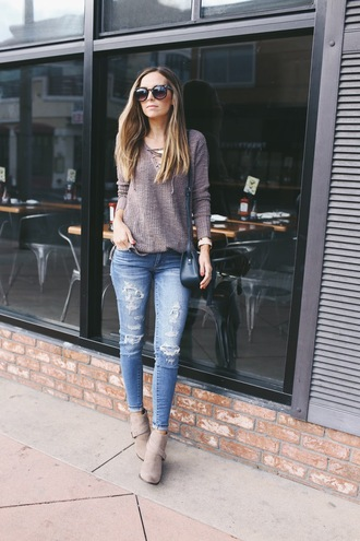 merrick's art // style + sewing for the everyday girl blogger sweater jeans bag grey sweater ripped jeans skinny jeans blue jeans lace up jumper black bag boots grey boots