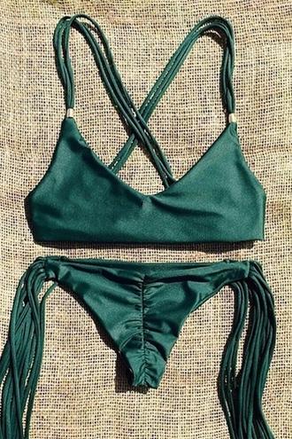 swimwear green fashion summer trendy beach fringes