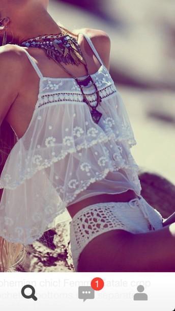 shorts crochet shorts blouse spring break top