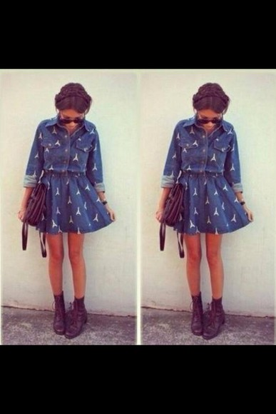 hippie fashion blue dress dreamcatcher denim dress