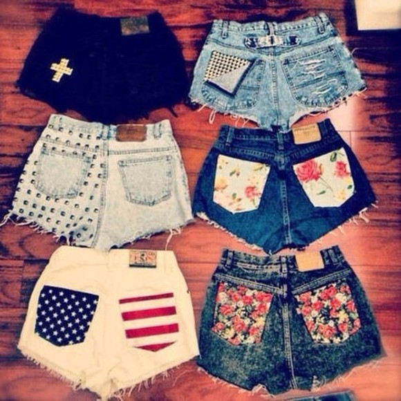 flower floral shorts denim shorts