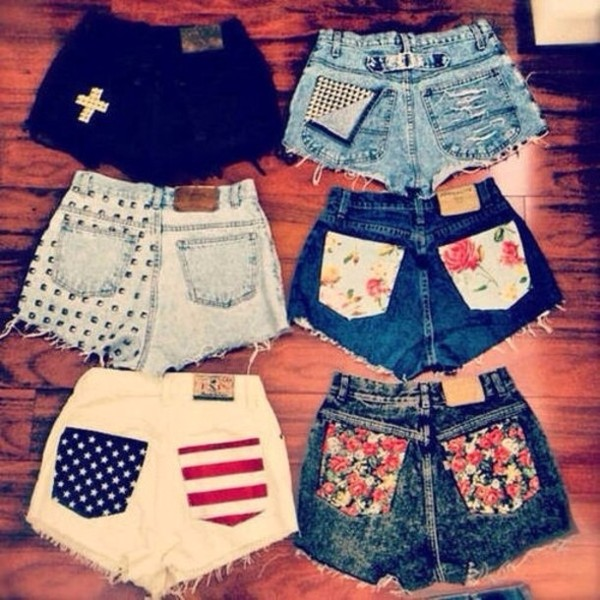 shorts denim shorts floral flowers