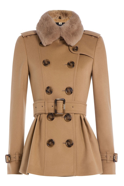 burberry london wool and cashmere coat with rabbit fur collar in camel wheretoget. Black Bedroom Furniture Sets. Home Design Ideas