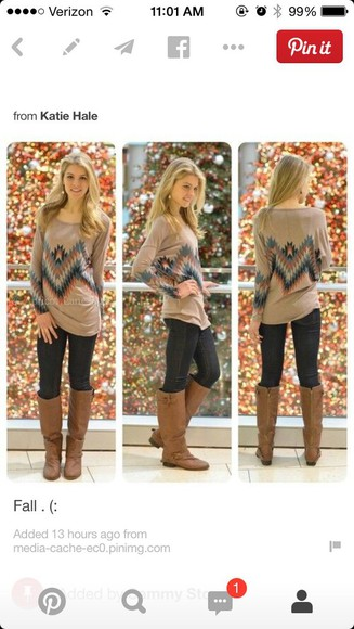 long sleeves style cute fall outfits tribal pattern sweater preppy