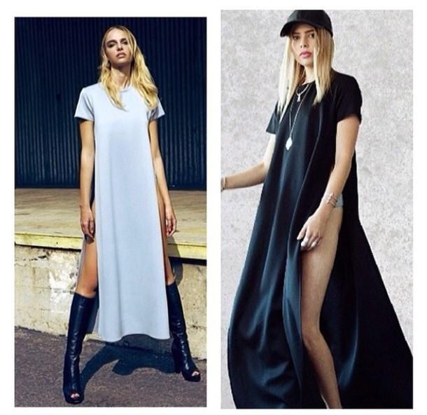 dress long dress short sleeve dress slit side unique style