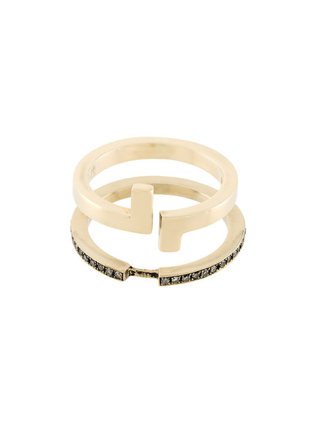 Polina Sapouna Ellis women ring gold grey metallic jewels