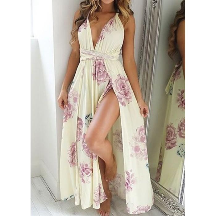 High Waist Slit Design Maxi Dress