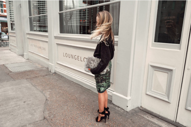 alice point blogger pencil skirt black heels camouflage jumper fluffy furry pouch furry bag midi skirt green skirt sandals sandal heels high heel sandals