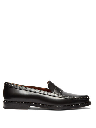 studded elegant loafers leather black shoes