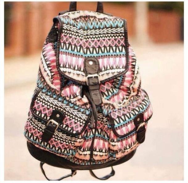 5cc686b406 bag girly cute ariana grande aztec leather trim printed backpack