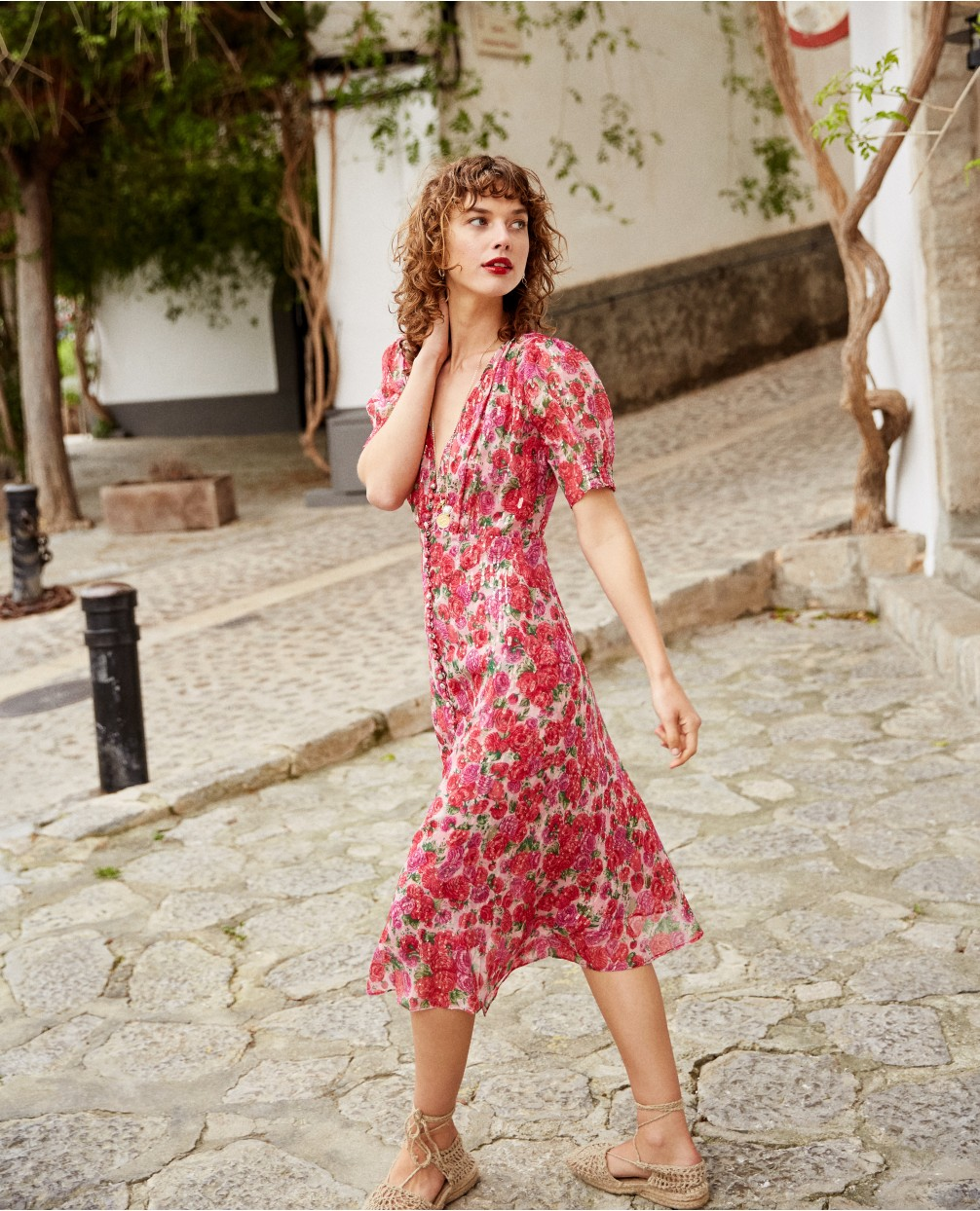 The Kooples Official Website - Long party dress with floral motif