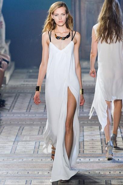 dress white dress white long dress long prom dress white tank dress deep scoop neck slit dress slip dress