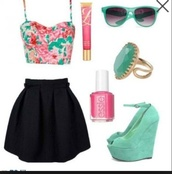 skirt,pink,green,colorful,crop tops,high heels,shoes,sunglasses,shirt,dress,black skirt,floral crop top,tank top,floral,top,black,lip gloss,ring,nail polish,high heel,wedges,aqua,neon,flower crown,aqua high heels,floral tank top,andmthe whole outfit it's fab,shorts,pink skirt,pink shirt,hair accessory,make-up,summer outfits,summer,cute,kawaii,tumblr,mint,jewels,bag,custom cosmetic bags,custom makeup bags,promotional cosmetic bags
