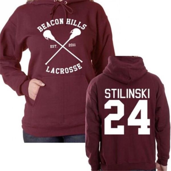 sweater dylan o'brien teen wolf stiles stilinski burgundy hoodie