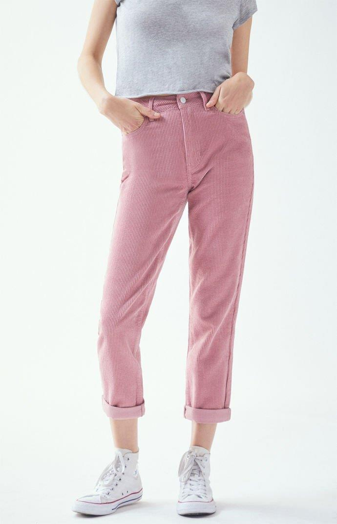 Blush Corduroy Mom Jeans