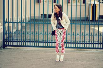 lizzyvanderlight jacket pants belt bag shoes embroidered jeans