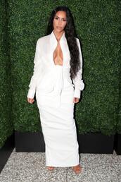 shirt,kim kardashian,kardashians,all white everything,top,blouse,maxi skirt,celebrity