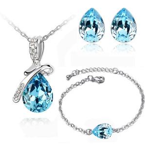 Blue Angel Tear Jewellery Set Crystal Studs Earrings, Bracelet & Necklace S354 | Amazing Shoes UK
