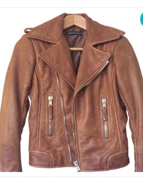 jacket balenciaga 2009 cognac distressed leather jacket