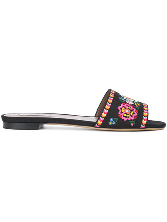 women sandals flat sandals leather cotton black shoes