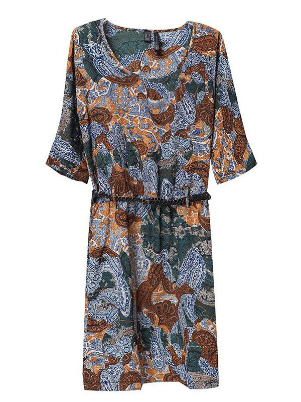 Round neck print knee length flared dress : kisschic.com