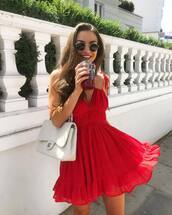 dress,red dress,short dress,wavy dress,abg,bag,white bag,sunglasses,round sunglasses