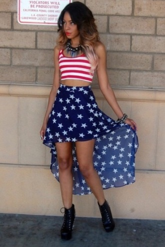 shirt skirt high low high low skirt blue skirt navy blue skirt stars american flag american flag oufit stripes red striped shirt red stripes top