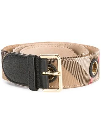 women classic belt leather cotton brown