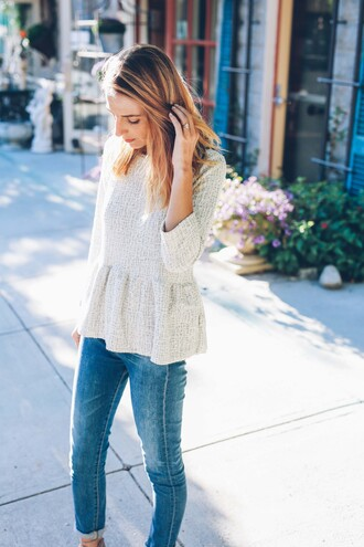 prosecco and plaid blogger top jeans peplum top