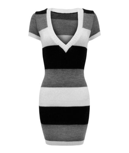 LADIES LONG V NECK KNITTED SHORT SLEEVE STRIPE JUMPER WOMENS DRESS TOP | eBay