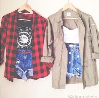 shorts flannel plaid flowers cute grunge shirt moon