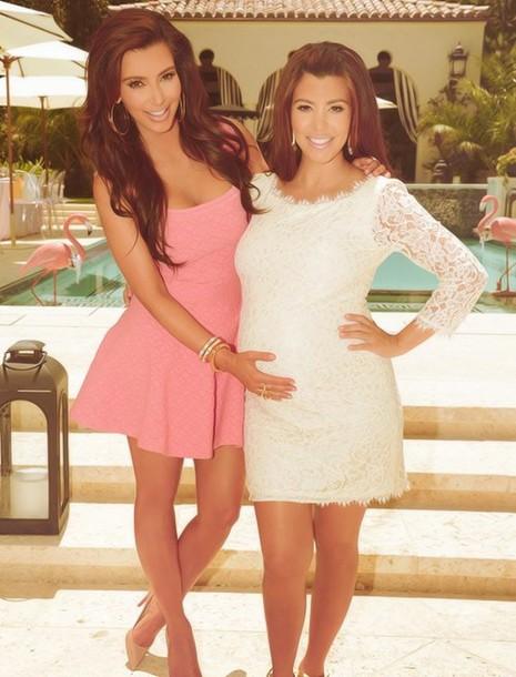 dress bodycon pink pink dress kim kardashian pool colorful bright kourtney kardashian white dress lace keeping up with the kardashians gorgeous