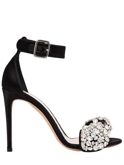 ALEXANDER MCQUEEN, 105mm crystal bow satin sandals, Black, Luisaviaroma