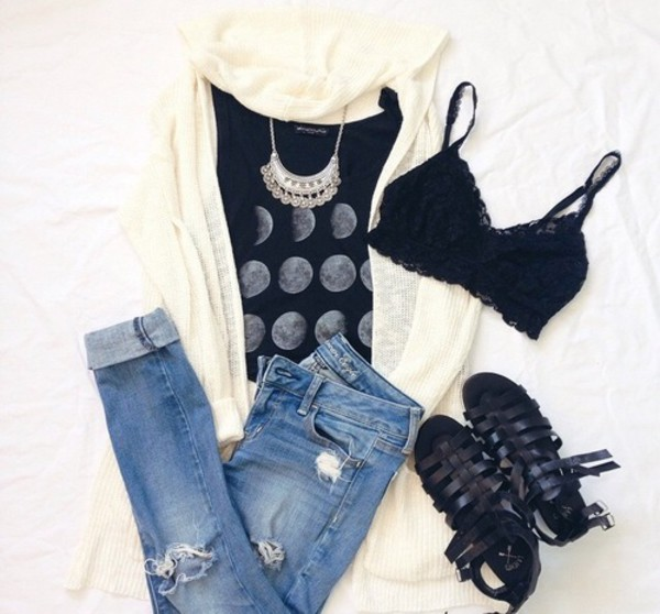cardigan jeans underwear