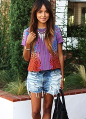 shorts,short jeans,top,necklace,bag,shirt,bright,colorful,casual,festival,coachella,distressed denim,blouse,tribal pattern,purple,orange,tropical,neon,aztec,multicolor,boho shirt