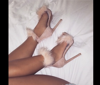 shoes faux fur shoes pink shoes sandal heels
