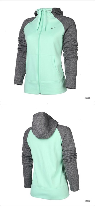 hoodie sportswear nike sportswear gym fitness mint jacket grey and turquoise nike jacket teal nike hoodie nike teal and grey zip up sweatshirt sweater tiffany blue nike nike mint coat i just love it