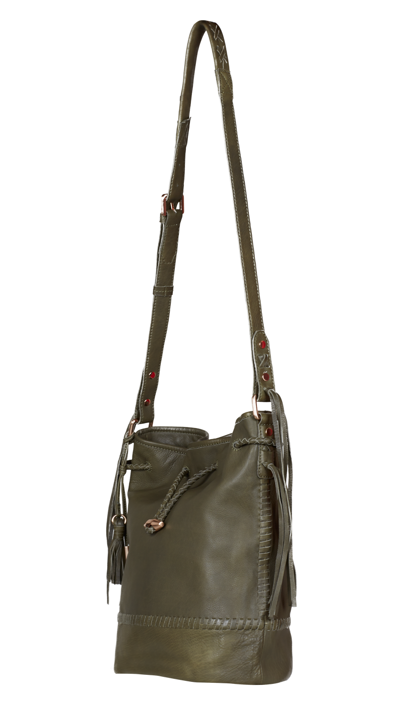JOIE Mabel Bucket Bag Moss | Leather Drawstring Handbag