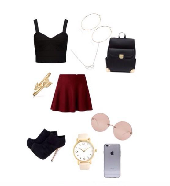 skirt - σмg тнαт ѕкιят . ! - short burgundy skirt .. shoes heels booties stacked wood heel
