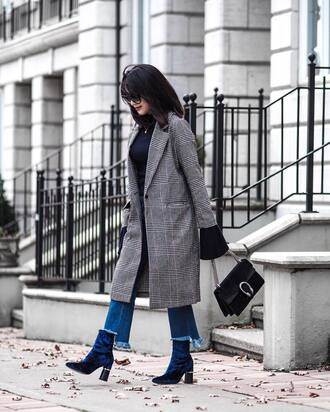 coat tumblr grey coat printed coat sweater bell sleeves bell sleeve sweater bag black bag gucci gucci bag dionysus denim jeans blue jeans frayed denim boots black boots high heels boots velvet velvet boots velvet shoes printed long coat
