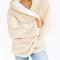 Beige reversible faux fur hooded coat