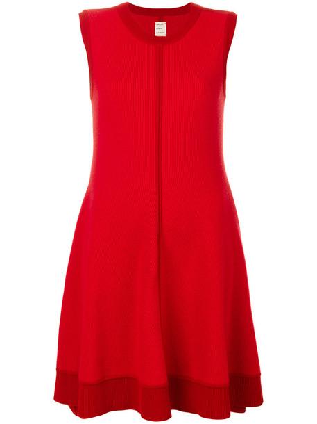 dress swing dress women wool red