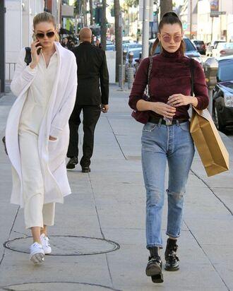 jeans top jumpsuit bella hadid gigi hadid model streetstyle turtleneck sunglasses coat