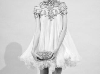 dress ruffle clutch classy elegant embellished girly fashion style white wedding dress hipster wedding