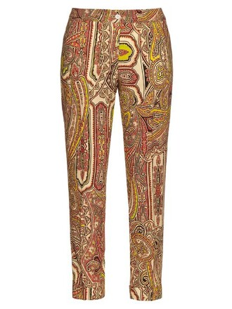 print wool yellow pants