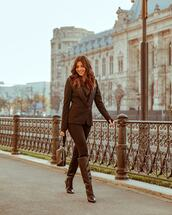 shoes,boot,high heels boots,knee high boots,pants,blazer,handbag,mesh,bra