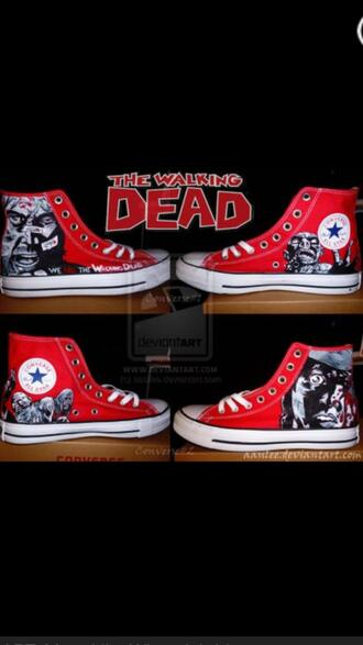 shoes red converse the walking dead