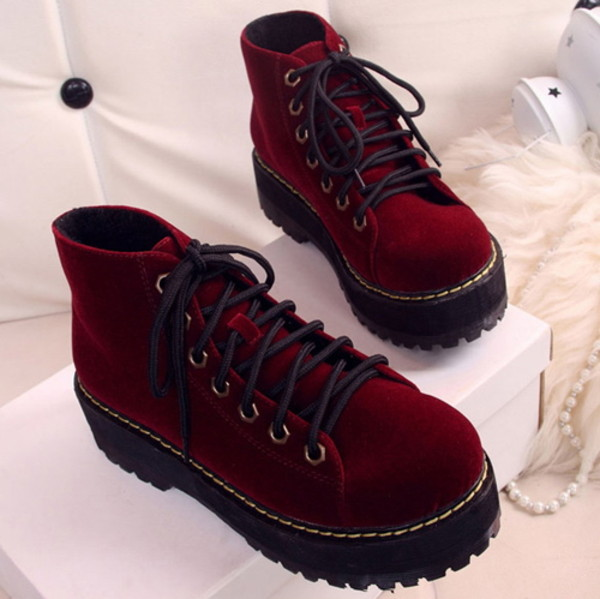 shoes platform shoes platform sneakers sneakers velvet red creepers
