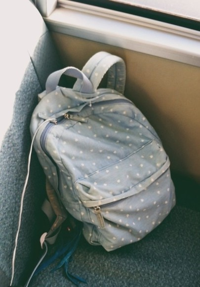 bag blue bag dotted rucksack light blue nice blue backpack jeans denim blue polkadots bag backpack faded cute white polka dots